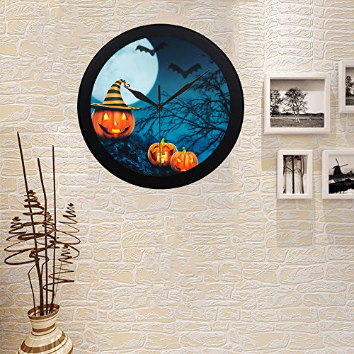 COLORSFORU Custom Helloween Pumpkins Candles Night Forest Elegant Black Silver Wall Clock Decor for Office Home Living Room