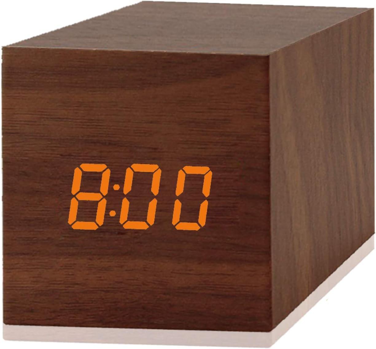 Digital Clock Voice Control Electronic Alarm Clock LED Wood Marble Head Road Wood Clock Temperature Clock