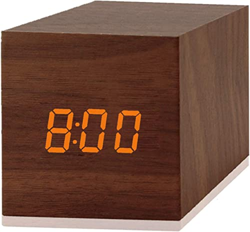 Digital Alarm Clock, with Wooden Electronic LED Time Display, 3 Alarm, 2.5-inch Cubic Small Mini Wood Made Electric Clocks for Bedroom, Bedside, Desk, Brown