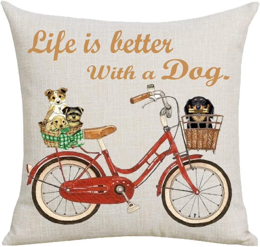 WePurchase Brown Word Art Life is Better With A Dog Quote Basket Bike Bicycle Inspirational Decoration Cotton Linen Decorative Home Sofa Living Room Throw Pillow Case Cushion Cover Square 18x18 Inches