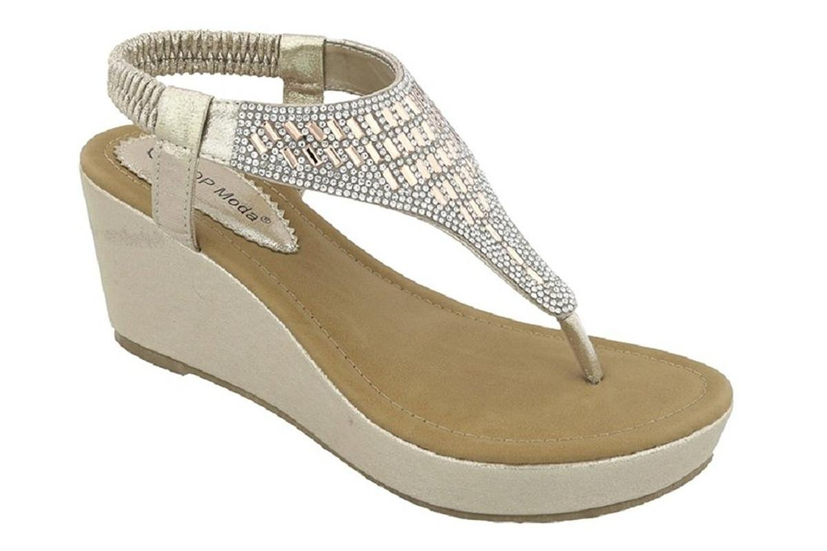 Top Moda OR-26 Women's Wedge Sandals Champagne 8 B(M) US