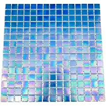 URBN Contemporary Deep Ocean Blue Iridescent Glass Mosaic Tile for Kitchen and Bath - Single Sheet (13 inches x 13 inches, 1.15 SQ FT)