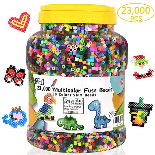 Fuse Beads, 23,000 pcs Multicolor Fuse Beads Kit for Kids Crafts, 5MM 30 Colors Melty Beads Including 3 Pegboards, 5 Ironing Paper, 10 Patterns for Boys and Girls, Works with - Kits Kids Bead