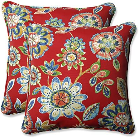 Pillow Perfect Outdoor Indoor Daelyn Cherry 18.5-inch Throw Pillow Set of 2