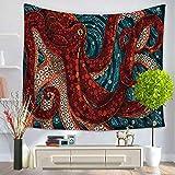 "YJ Bear Octopus Print Wall Hanging Tapestry Table Cloth Cover Non-woven Weaving Yoga Mat Blanket Rectangle Indian Mandala Boho Beach Towel Throw 59"" X 51"""
