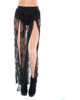68a6963b9d947 iHeartRaves Women's Stretchy Sheer Mesh and Lace Long Side Slit Maxi Skirts