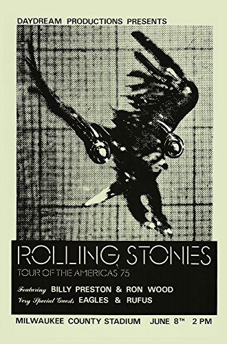 Rolling Stones - Tour of the Americas 75 Retro Art Print — Poster Size — Print of Retro Concert Poster — Features Mick Jagger, Keith Richards, Ronnie Wood, Bill Wyman and Charlie Watts.