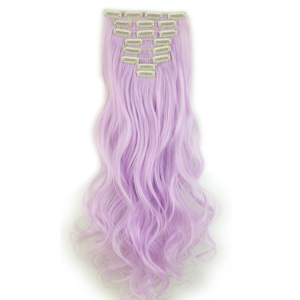 Extension Clip Capelli Biondi Sintetici Mossi Lunghi 24 pollici 60cm Full Head Hair Extension 8 Ciocche Elailite