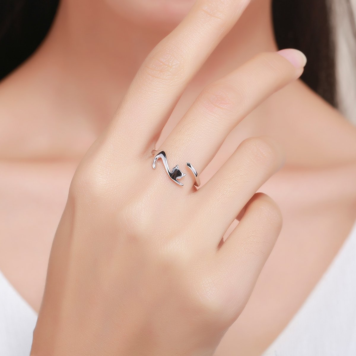 Everbling Playful Cat with Long Tail 925 Sterling Silver Adjustable Ring