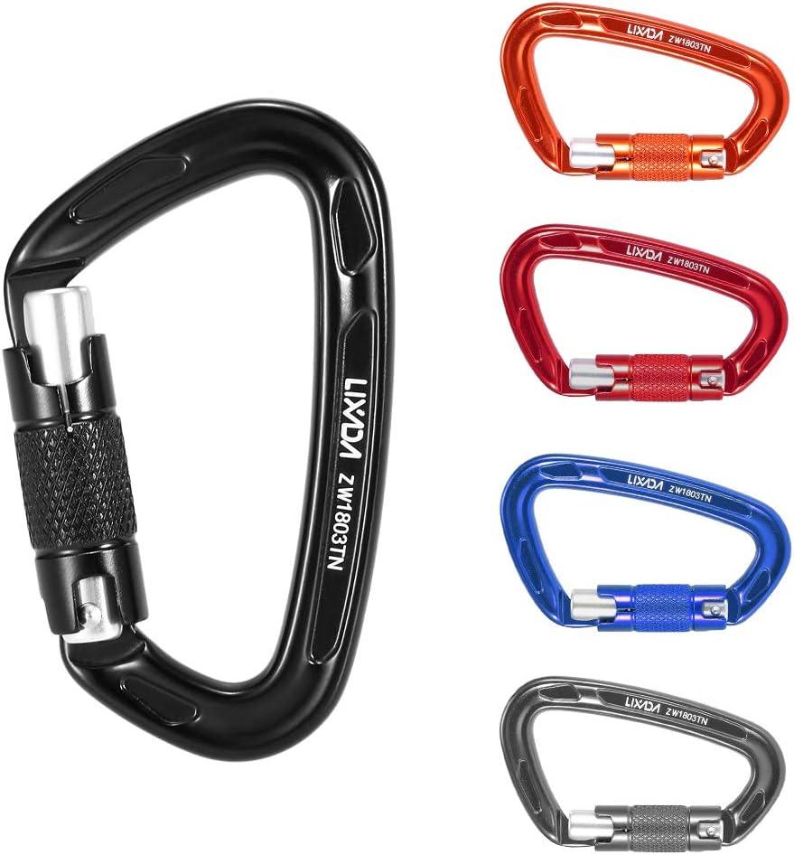 Lixada Carabiner 24KN D-Ring High Duty Screwgate Carabiner Keychain Clips Twist Locking Carabiner for Rappelling Hammocks Backpacking Camping Key Climbing