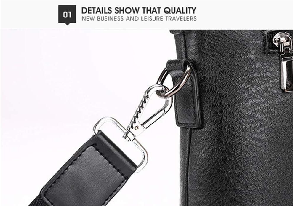 Feceyq Briefcases for Men,Genuine Leather,Mens Business Bag European and American Fashion Single Shoulder Messenger Bag Color : Black