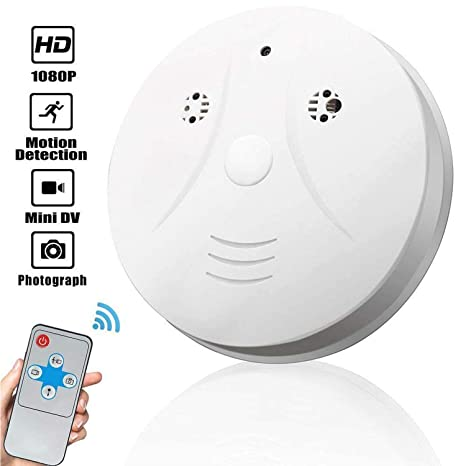 Smoke Detector Hidden Camera, Amomb 1080P Mini Smoke Detector Camera Security Camera Wall Mount Motion Detection Surveillance Camera Nanny Cam Loop ...