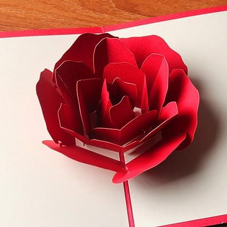 Auguri Matrimonio Amici Intimi : 3d rose flower popup card hollow bouquet biglietto di auguri fai da