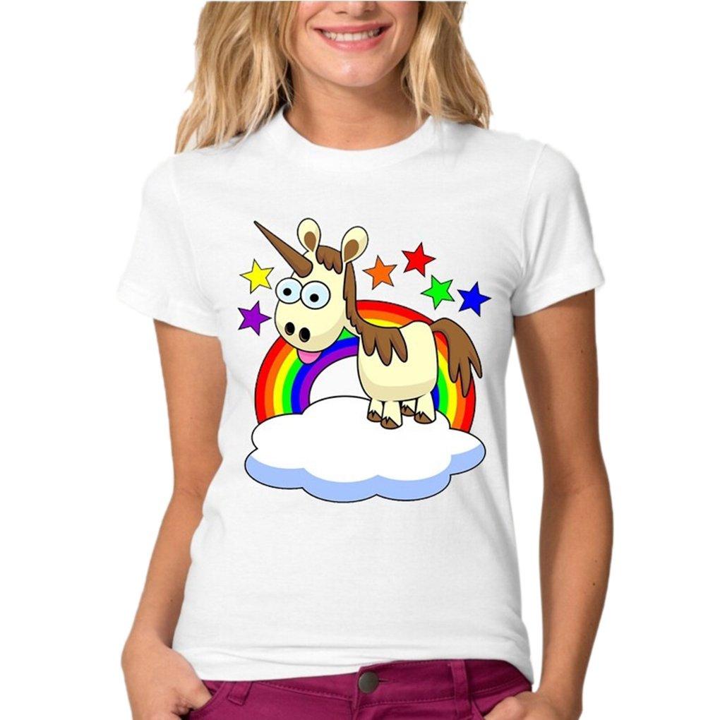 Sweat Manche Courte Femme Swag Mode T-Shirt Licorne Dab Ado enfant Haut Imprimé Panda Zèbre Casual Blouse Col Rond Pull Unicorne de Sport Danse Hoodie Sweatshirt Hip Hop Basique Chemise Top Blanc