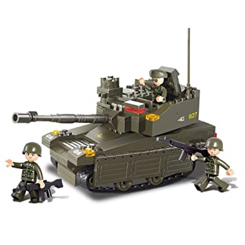 Sluban B0285 Army Leopard Battle Tank Soldier Play Gun Set Building Toy Blocks