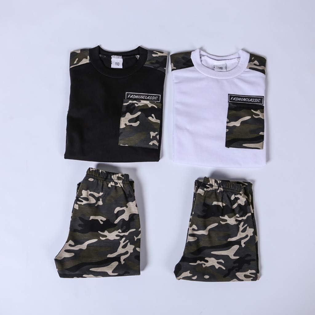 Deloito Teen Kids Baby Jungen Hemd T-Shirt Trainingsanzug Brief Camouflage Drucken Bluse Tops Hosen Zweiteiliger Outfits Set