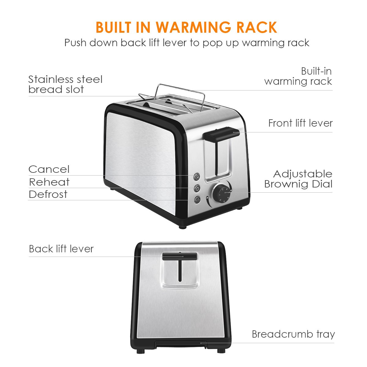 Toaster 2 Slice Warming Rack Brushed Stainless Steel for Breakfast Bread Toasters Best Rated Has Defrost Reheat Cancel Button Removable Crumb Tray By KEEMO by Keemo (Image #5)