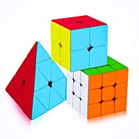 Assemble Cube 2X2 3x3 and Pyraminx Pyramid Triangle Cube High Speed Stickerless Magic Brainstorming Puzzle Cubes Combo