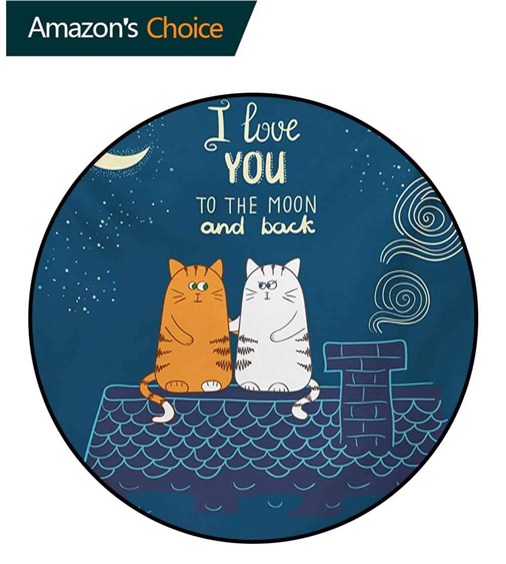 RUGSMAT I Love You Modern Machine Round Bath Mat,Love Cats On The Roof Under Night Sky Moon Stars Caricature Kitty Image Non-Slip No-Shedding Kitchen Soft Floor Mat,Diameter-39 Inch