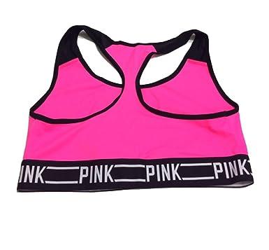 3ac229bc3a39e Victoria's Secret PINK Logo Bra Top Small Neon Fuchsia at Amazon ...