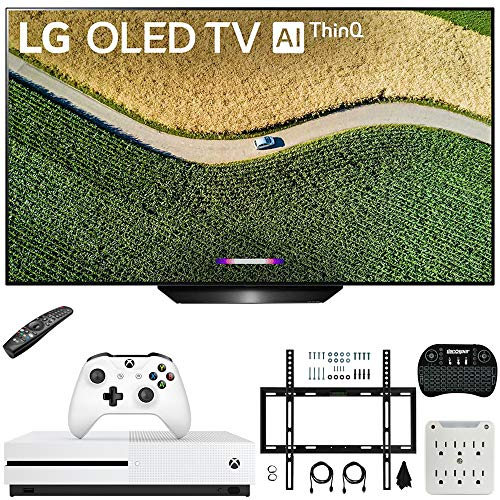 LG OLED55B9PUA B9 55″ 4K HDR Smart OLED TV with AI ThinQ (2019) Bundle with Microsoft Xbox One S 1TB Console, Flat Wall Mount Kit, Wireless Keyboard, and 6-Outlet Surge Adapter with Night Light