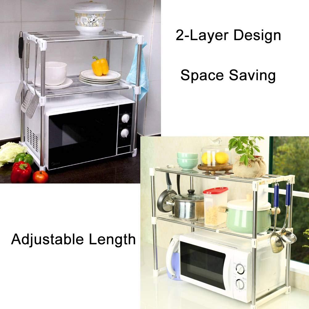 Ivoire Baoyouni Four /à micro-ondes Rack rayonnage /étag/ère de rangement r/églable d/'unit/é avec la capacit/é de poids de 125lbs 8 crochets pour dessus de comptoir de cuisine