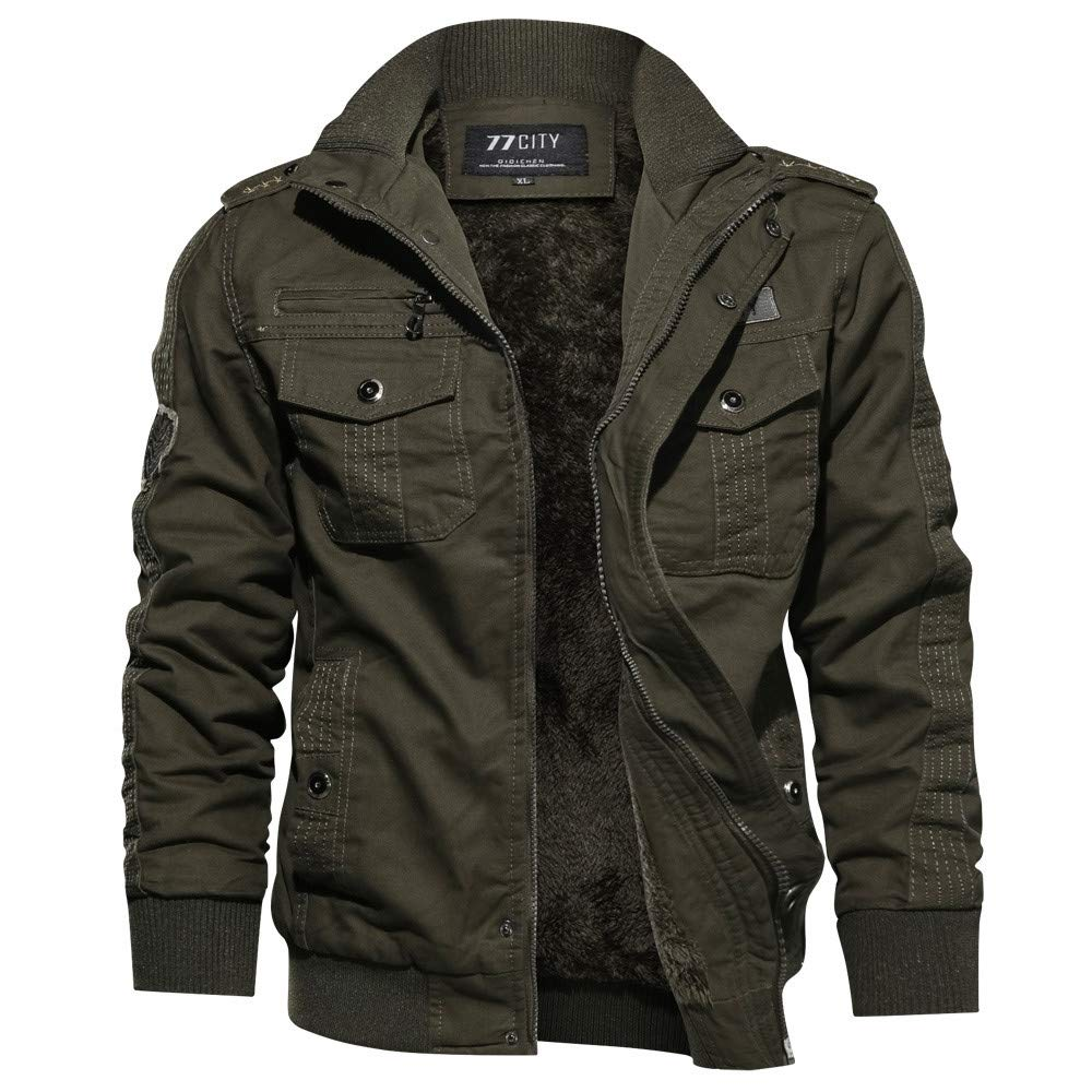 Ennglun Jacket mens Coats Men's Overcoat for Men's Winter Military Pocket Tactical Thickened Cashmere Coat,Outdoor Coat (XXXXXL,ArmyGreen)