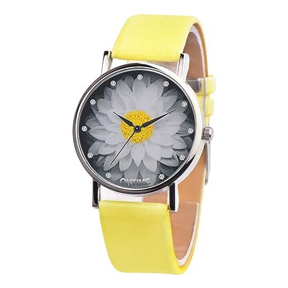 JiaMeng Cristal de Cuarzo analógico de Cuero de Lona Casual Unisex Reloj de Cuarzo (Amarillo