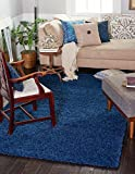 Unique Loom Solid Shag Collection Navy Blue 4 x 6 Area Rug (4' x 6')