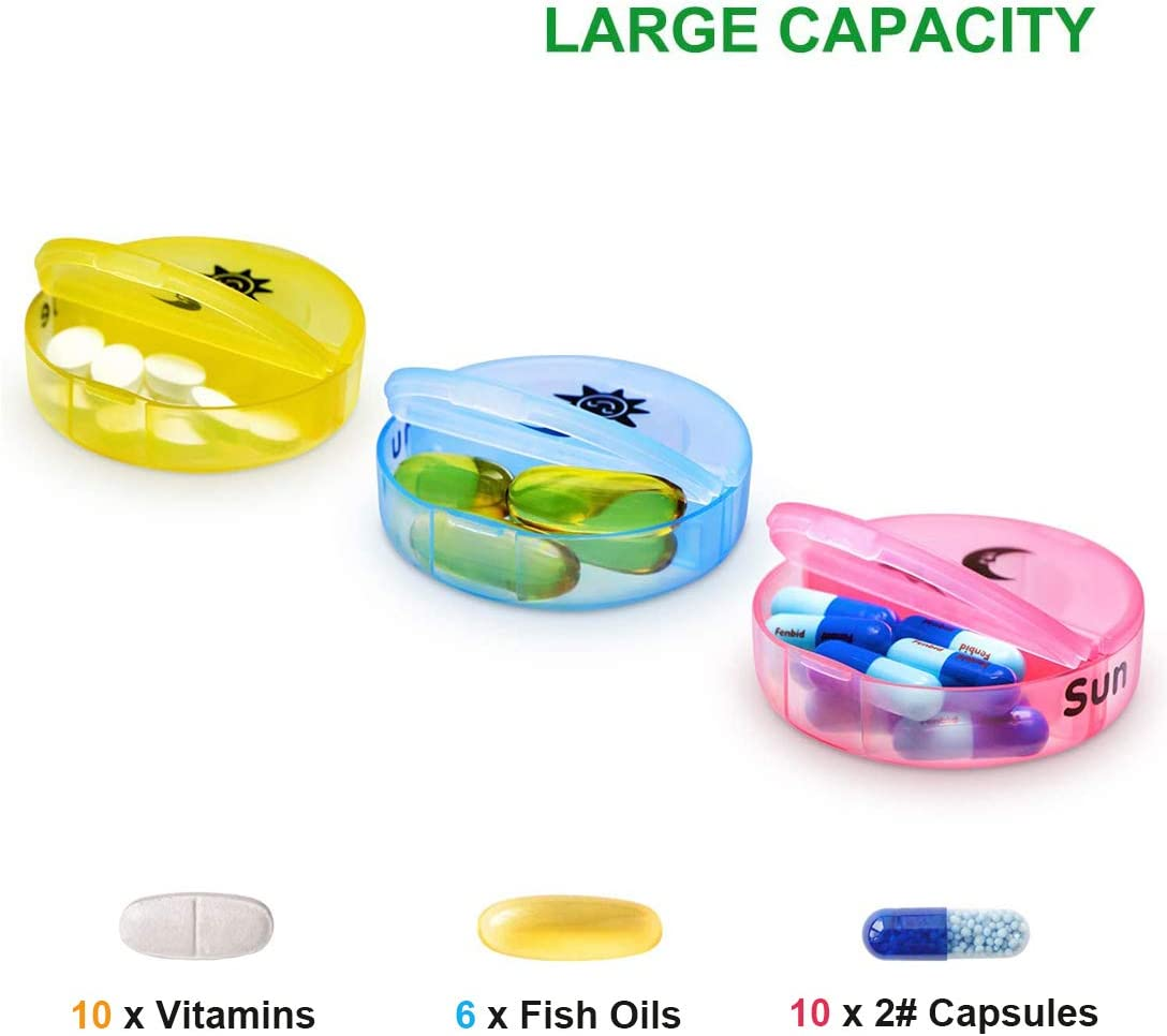 Scatola nera PortaPillole Settimanale Vitamine e Medicinali Olio di Pesce 7 Giorni Pill Box con 14 Scomparti Integratori 2 volte al giorno AM PM Porta Pillole per Pillole