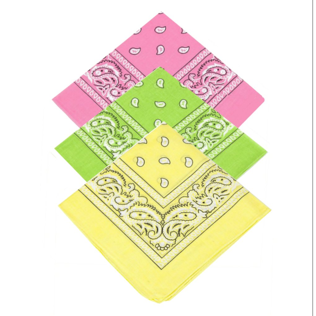 Pack of 3 X High Quality Paisley Bandana Headbands for Women, Girls,Men & Boys 100% Cotton Bandana Headscarf / Neck Scarf / Neckerchief / Handkerchief / Head Tie (Baby Pink,Lime Green,Yellow)