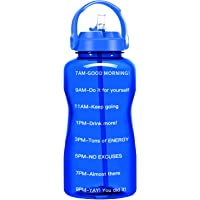 QuiFit 64 Oz Motivational Water Bottle - with Straw & Time Marker BPA Free Half Gallon Large Water Jug Leak-Proof…