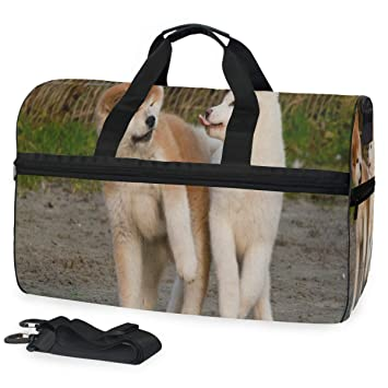 Puppy French Bulldog Sports Gym Bag with Shoes Compartment Travel Duffel Bag for Men and Women
