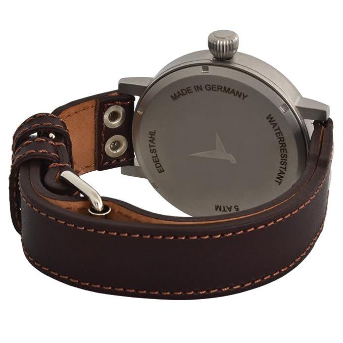 Aristo ME de 55dB Hombre Reloj de pulsera Messerschmitt cuarzo analógico de acero inoxidable piel: Amazon.es: Relojes