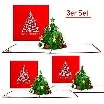 Gutschein Weihnachtsbaum.3d Weihnachtskarten Im 3er Set Einzigartige Pop Up Karten