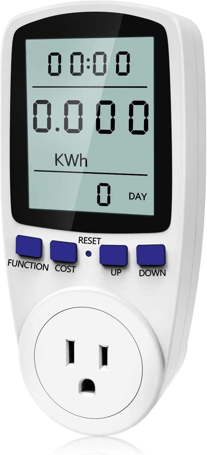 kuman KW47-US Electricity Usage Monitor Plug Power Watt Voltage Amps Meter with Digital LCD, Overload Protection and 7 Display Modes for Energy Saving (NO-Backlight), white - -