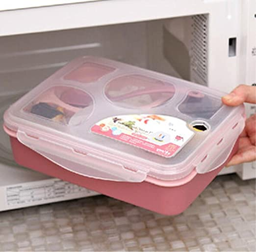 yjydada cinco más A con cuenco microondas Lunch Box con varios compartimentos: Amazon.es: Hogar
