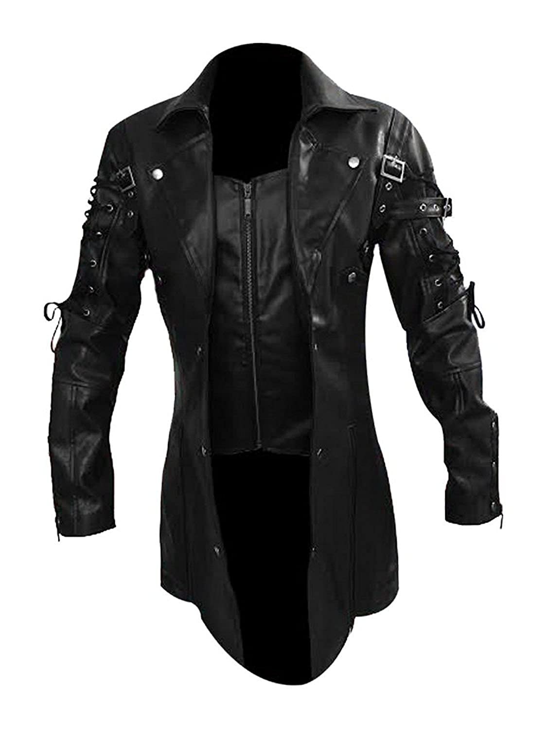 Men's Steampunk Clothing, Costumes, Fashion Mens Real Black Leather Goth Matrix Trench Coat Steampunk Gothic Jacket $84.99 AT vintagedancer.com