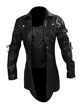 07b151120f342 LKT Mens Real Leather Goth Matrix Trench Coat Steampunk Spooky Stylish  Design Real Leather Gothic Coats