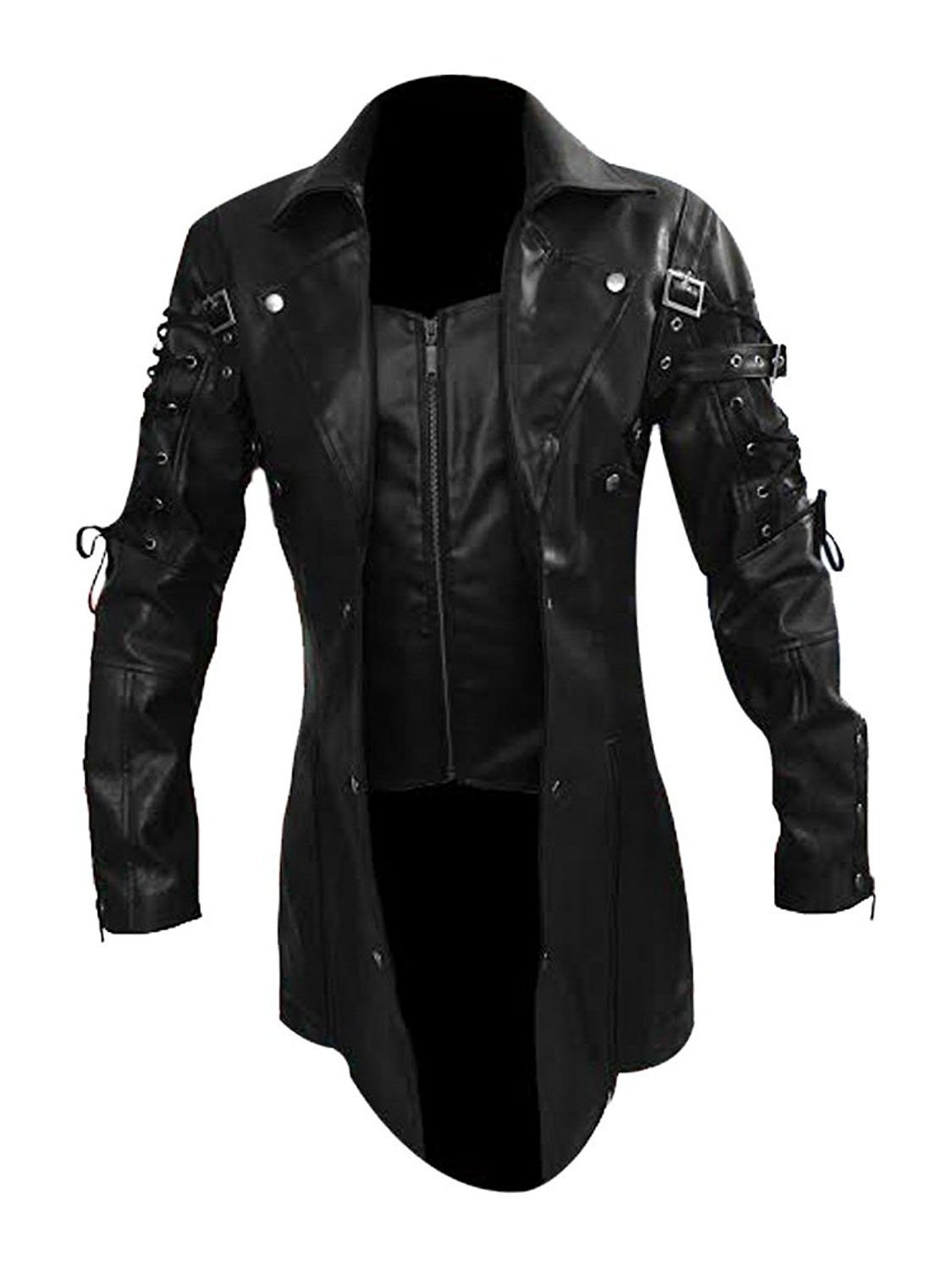 LKT Mens Real Leather Goth Matrix Trench Coat Steampunk Spooky Stylish Design Real Leather Gothic Coats 3