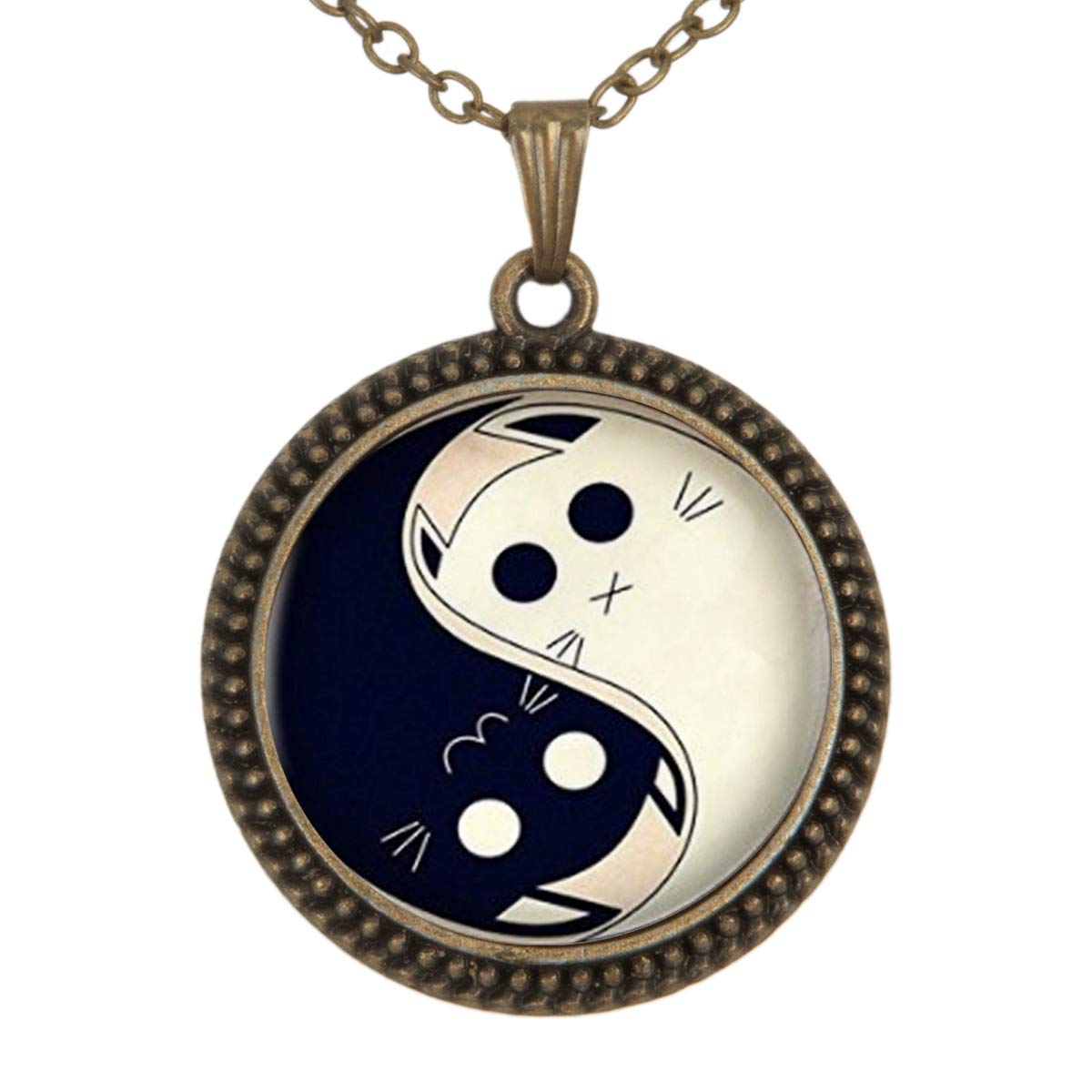 Lovely Yin Yang Cats Pendant Necklace Vintage Bronze Chain Statement Necklace Handmade Jewelry Gifts
