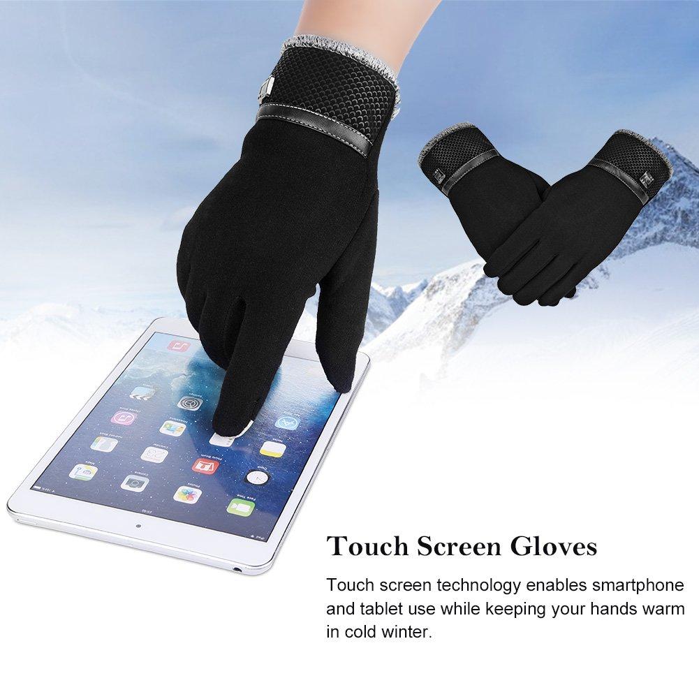 Vbiger Gant homme tactile gant chaudes épais gants anti froid pour le sport, Noir, Taille unique