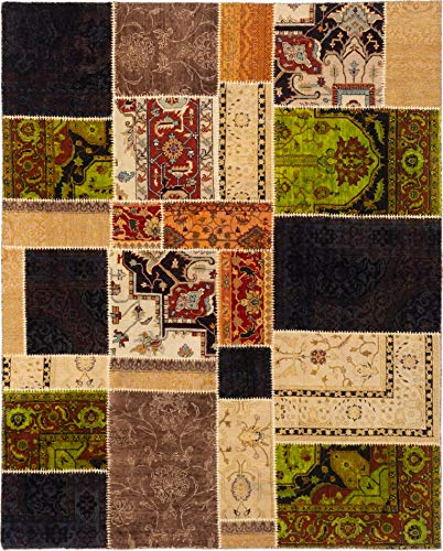 eCarpet Gallery Large Area Rug for Living Room, Bedroom | Hand-Knotted Wool Rug | Patch Deluxe Casual Brown Rug 8'0
