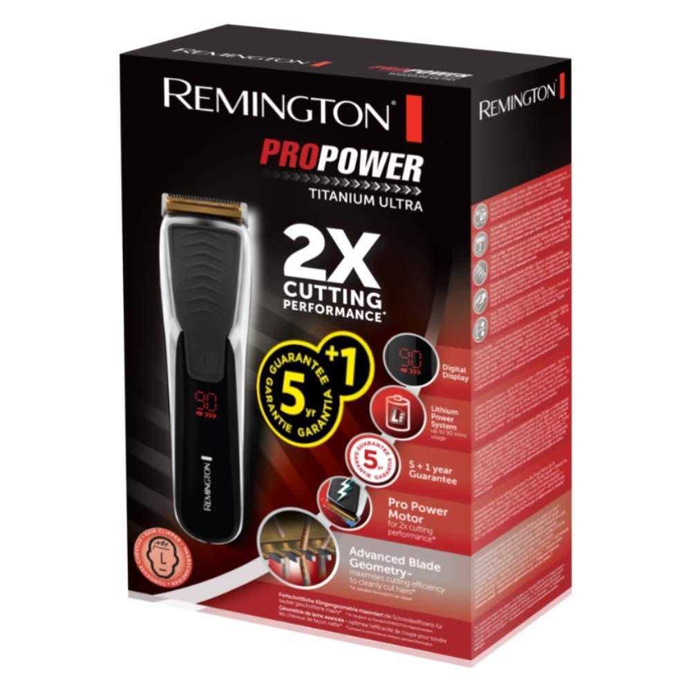 Remington HC7170 Motor Pro Power Titanium Ultra - Cortapelos inalámbrico, cuchillas AcuAngle, peines ajustables SlideSelect, lavable, 90 minutos de ...