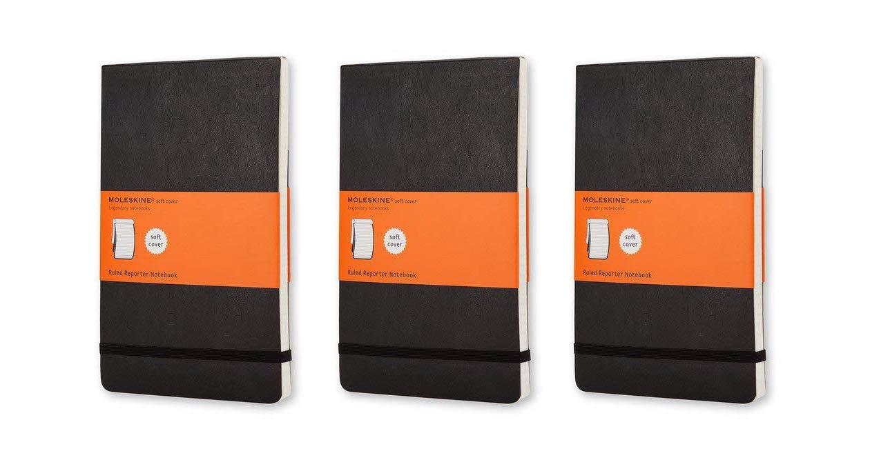 Pack of 3 Moleskine Reporter Notebook, Large, Ruled, Black, Soft Cover (5 x 8.25) (Reporter Notebooks) by Moleskine (Image #1)