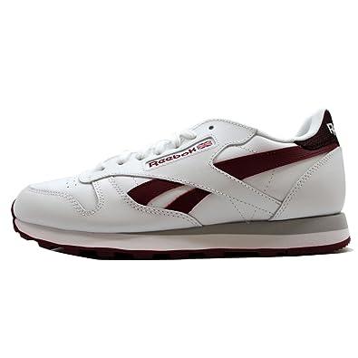 c8ba90bf691 Reebok Lifestyle Men s Classic Leather Pop SC White Merlot Sneaker ...