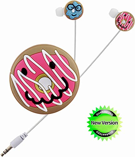 Teens Headphones, Donuts Earbuds with Cable Wrap Winder for Teens Girls Stereo Sound with Noise Reduction Cartoon Earbuds for School Travel