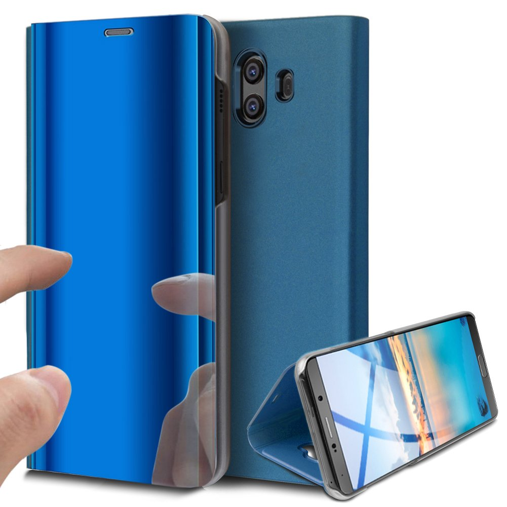 Huawei Mate 10 Case,Huawei Mate 10 Cover,ikasus Ultra-Slim Luxury Hybrid Shock-Absorption Plating Mirror Makeup Case Cover PU Leather Flip Stand Kickstand Protective Case Cover for Huawei Mate 10,Blue