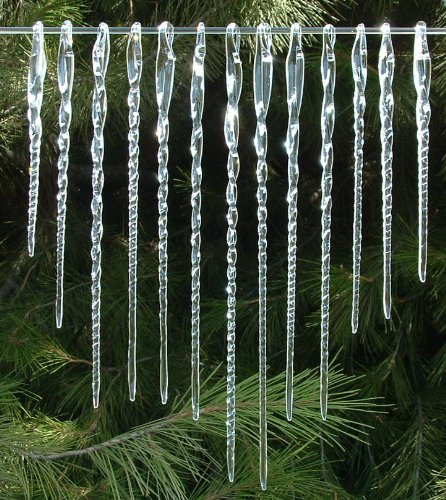 Amazon.com: Glass Icicles Christmas Ornaments Hand Blown Crystal ...