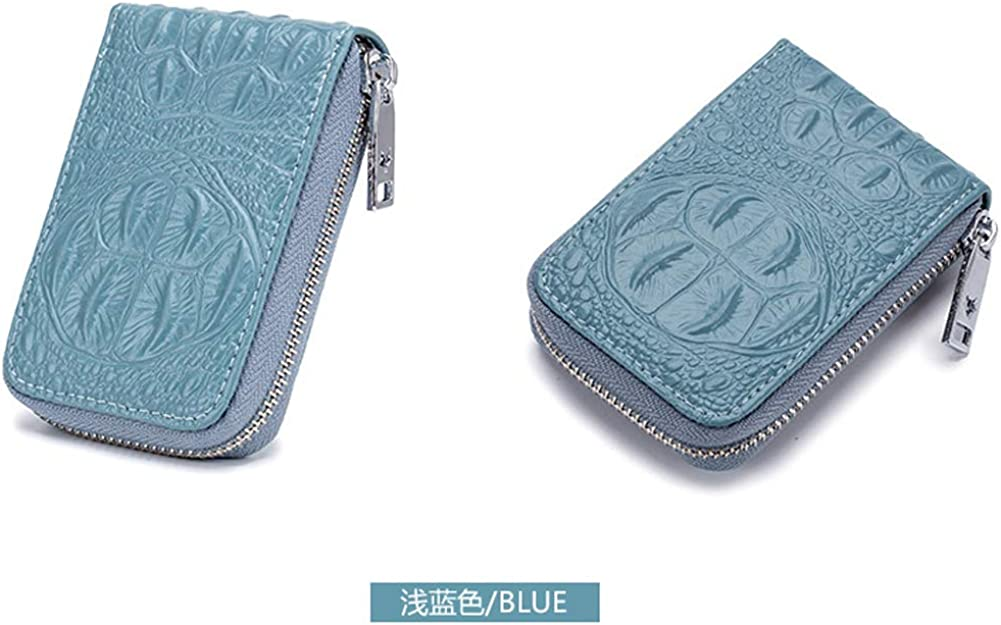 Boshiho Small Accordion Wallet 12 Slots Credit Card Case Holder Zipper Purse Real Leather Crocodile Pattern Organizer